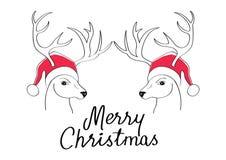 La cartolina di Natale con il tiraggio dei cervi con il cappello del ` s di Santa Illustrazione di tiraggio della mano Immagine Stock Libera da Diritti