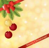 La cartolina di Natale con l'albero di Natale astratto e la carta bowGreeting rossa con un abete si ramificano con le palle di Na illustrazione vettoriale