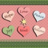La cartolina di Natale con l'amore della gioia di speranza di parola crede il noel di pace Illustrazione di Stock