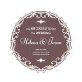 La cartolina rotonda marrone elegante per un invito di nozze, la struttura è eseguita in uno stile vittoriano Adatto a stampa e a Fotografia Stock Libera da Diritti