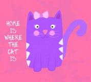 La casa è dove il gatto è Fotografie Stock