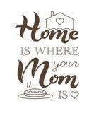 La casa è dove la vostra mamma è frase Fotografia Stock Libera da Diritti