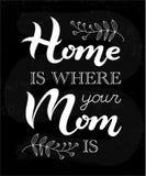 La casa è dove la vostra mamma è frase sulla lavagna Fotografia Stock