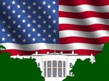 La Casa Bianca con la bandiera americana Fotografia Stock