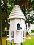 La casa bianca del nido dell'uccello con un uccello blu e due uccelli gialli, Fotografie Stock Libere da Diritti
