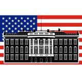 La Casa Bianca e gli Stati Uniti flag-1 Fotografia Stock Libera da Diritti