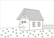 La casa con un rostro humano, contornos Fotos de archivo