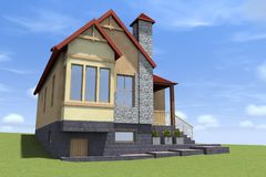 la casa 3D rende in Armenia illustrazione di stock