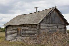 La casa de madera vieja se coloca entre pueblos y crecido demasiado con el tejado de pizarra de la hierba Región de Ucrania, Sumy Imagen de archivo