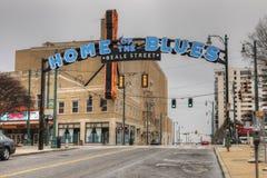 La casa dei blu firma sulla st di Beale a Memphis, Tennessee fotografia stock