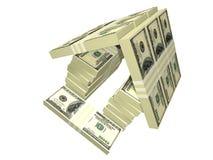 La casa dei soldi del pacchetto delle fatture del dollaro ha isolato Fotografia Stock
