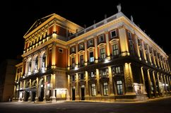 La casa del concierto de Viena en la noche Imagen de archivo libre de regalías