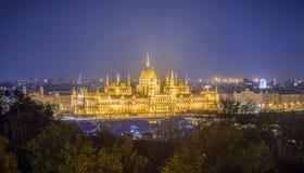 La casa del parlamento de Hungría en la noche, Budapest Fotos de archivo libres de regalías