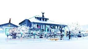 La casa del Tennessee ha decorato l'illuminazione per il rivestimento negativo di Natale Fotografia Stock Libera da Diritti