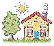 La casa di campagna fatta a mano di estate del disegno Immagine Stock Libera da Diritti