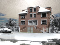 La casa di inverno Fotografia Stock