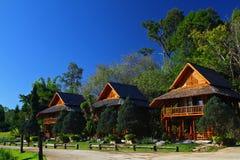 La casa di legno di thee con cielo blu ed il grande albero Immagini Stock Libere da Diritti