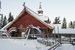 la casa di Santa Claus in Norvegia nell'inverno immagine stock libera da diritti