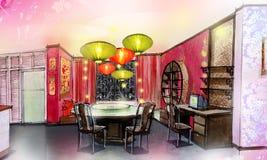 La casa di stile cinese della stanza di Dinning rinnova Fotografia Stock