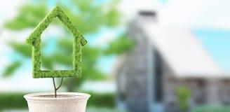 La casa ecológica, hogar verde, 3d rinde el ejemplo