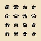 La casa, la casa ed il cottage vector le icone per il web ed il app Immagini Stock