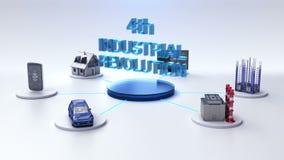 La casa elegante, fábrica elegante, edificio, coche, móvil, sensor de Internet conecta la 4ta tecnología del ` de la REVOLUCIÓN I stock de ilustración