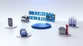 La casa elegante, fábrica elegante, edificio, coche, móvil, sensor de Internet conecta la tecnología del ` de la REVOLUCIÓN INDUS stock de ilustración
