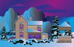 La casa en la nieve brilla intensamente a la víspera de la Navidad stock de ilustración
