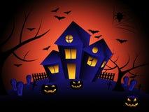 La casa encantada indica truco o invitación y otoño Fotos de archivo