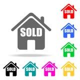 la casa es icono vendido Elementos de las propiedades inmobiliarias en iconos coloreados multi Icono superior del diseño gráfico  ilustración del vector