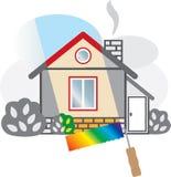 La casa gris se pinta en colores brillantes. Fotografía de archivo