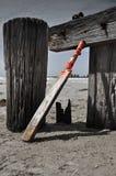 La casa ha fatto il pipistrello di cricket sulla spiaggia Immagini Stock Libere da Diritti