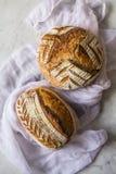 La casa ha fatto l'artigiano acido della pasta ha compitato il pane dopo avere cotto in un forno olandese su fondo di marmo fotografia stock libera da diritti
