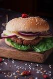 La casa ha fatto la cottura dell'hamburger Fotografia Stock Libera da Diritti