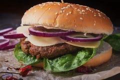 La casa ha fatto la cottura dell'hamburger Immagini Stock Libere da Diritti