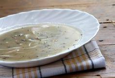 La casa ha prodotto la zuppa di fungo fotografia stock libera da diritti