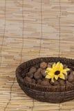 La casa ha prodotto le noci in una ciotola ratan Fotografie Stock