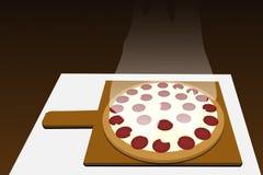 La casa ha prodotto la pizza di merguez Delizioso!!! fotografia stock libera da diritti