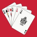 La casa llena aces a reinas en rojo Imagen de archivo libre de regalías