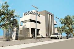 la casa moderna 3d, hace en 3ds máximo, en el backg blanco Imagen de archivo libre de regalías