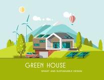 La casa moderna amistosa verde de la energía y del eco en la montaña ajardina el fondo Solar, energía eólica