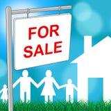 La casa para la venta significa el hogar y el hogar residenciales Foto de archivo libre de regalías