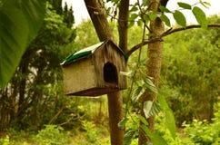 La casa per gli uccelli nel legno Fotografia Stock Libera da Diritti