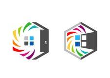 La casa, propiedades inmobiliarias, hexágono, hogar, logotipo, sistema del arco iris colorize diseño del vector del icono del sím Fotos de archivo libres de regalías
