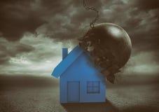 La casa resiste el impacto con una bola de demolición Concepto de fuerza y de indestructibilidad ilustración del vector
