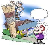 La casa se hipoteca al top de la chimenea Fotografía de archivo libre de regalías