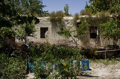 La casa tradizionale non scava e poco giardino in una regione arida immagini stock