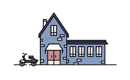 La casa viva construida con los ladrillos en estilo arquitectónico moderno y vespa parqueó al lado de ella Edificio residencial d stock de ilustración