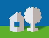 La casa y el árbol de papel