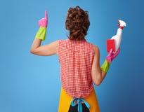 La casalinga con la spugna della cucina ed il detersivo imbottigliano indicare su immagine stock